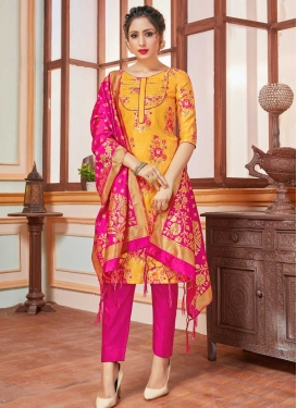 Mustard and Rose Pink Pant Style Straight Salwar Kameez