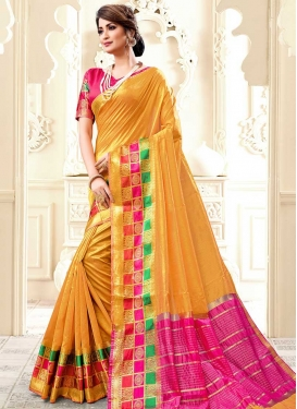 Mustard and Rose Pink Thread Work Trendy Classic Saree