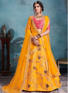 Mustard and Rose Pink Trendy A Line Lehenga Choli