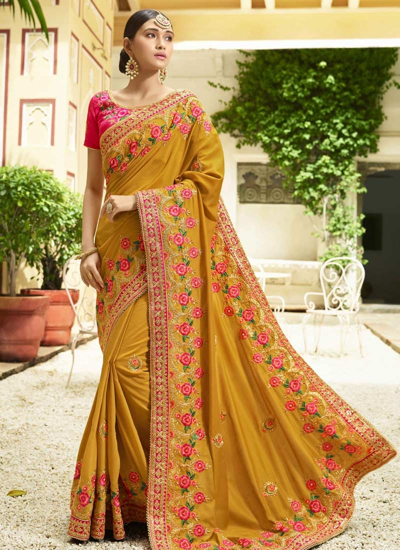 Mustard and Rose Pink Trendy Classic Saree