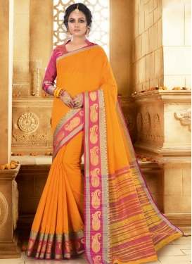 Mustard and Rose Pink Woven Work Trendy Classic Saree