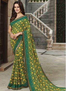 Mustard and Sea Green Digital Print Work Traditional Designer Saree