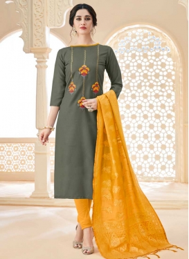 Mustard and Sea Green Trendy Churidar Suit For Festival