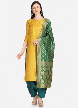 Mustard and Teal Woven Work Pakistani Straight Salwar Kameez