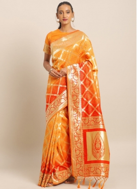 Mustard and Tomato Woven Work Designer Contemporary Style Saree
