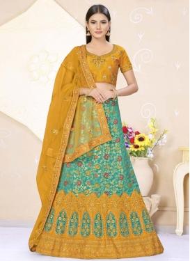 Mustard and Turquoise Banarasi Silk Designer Classic Lehenga Choli