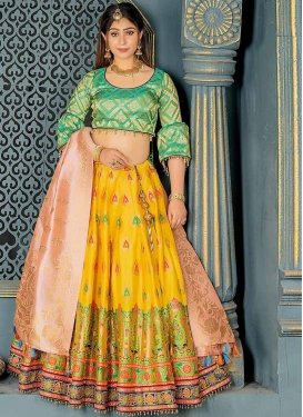 Mustard and Turquoise Banarasi Silk Trendy Lehenga Choli For Party
