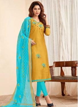 Mustard and Turquoise Cotton Churidar Salwar Kameez