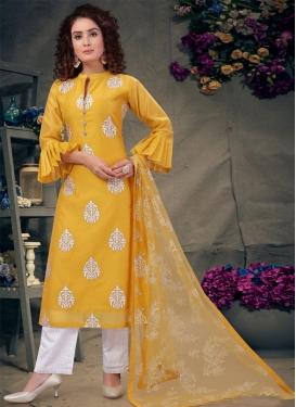 Mustard and White Readymade Designer Salwar Suit