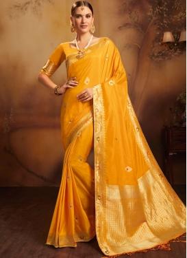 Mustard Ceremonial Jacquard Silk Traditional Designer Saree