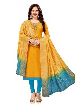 Mustard Embroidered Festival Churidar Designer Suit