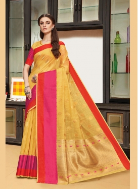 Mustard Festival Traditional Designer Saree