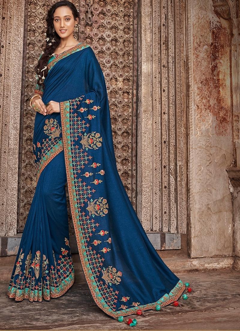 Mystical Patch Border Art Silk Designer Traditional Saree