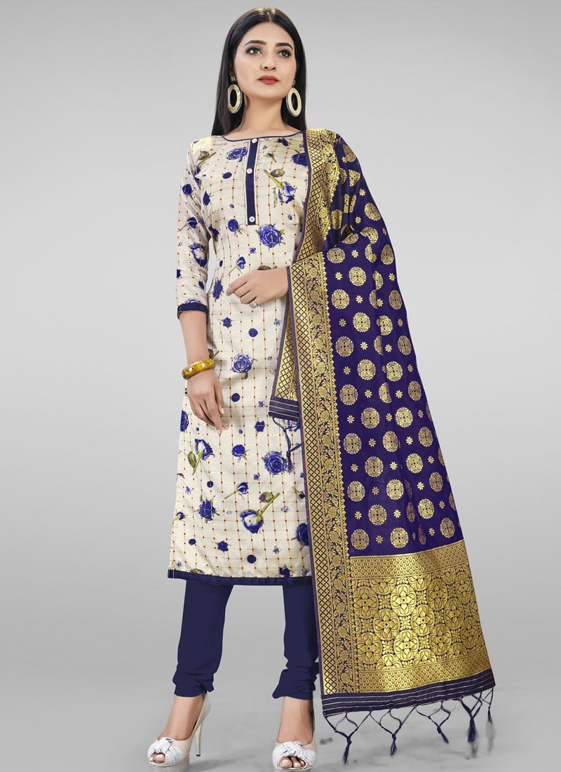 Navy Blue and Off White Trendy Churidar Salwar Kameez For Casual