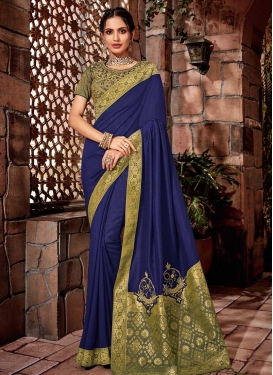 Navy Blue and Olive Brocade Designer Contemporary Style Saree