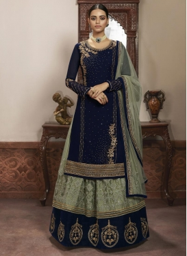 Navy Blue and Olive Faux Georgette Designer Kameez Style Lehenga Choli For Ceremonial