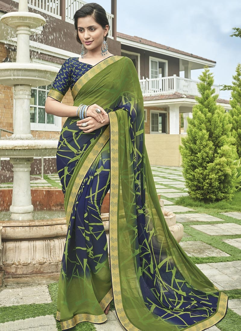 Navy Blue and Olive Faux Georgette Designer Traditional Saree