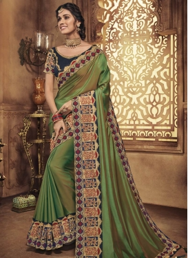 Navy Blue and Olive Traditional Designer Saree