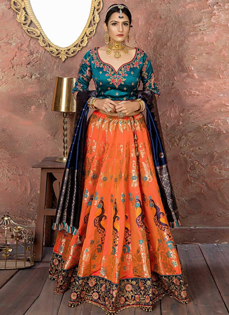 Navy Blue and Orange A Line Lehenga Choli
