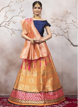 Navy Blue and Orange A Line Lehenga Choli For Festival