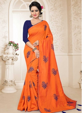 Navy Blue and Orange Art Silk Designer Traditional Saree For Ceremonial