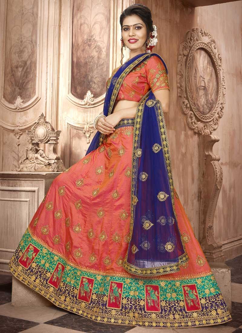Navy Blue and Orange Art Silk Lehenga Choli