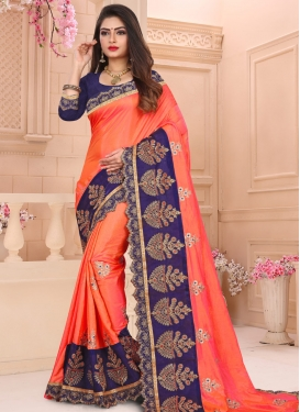 Navy Blue and Orange Art Silk Traditional Saree