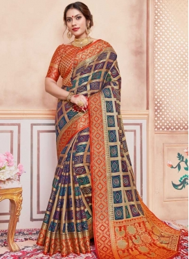 Navy Blue and Orange Bandhej Print Work Art Silk Designer Contemporary Saree