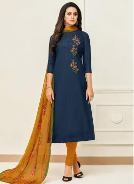 Navy Blue and Orange Chanderi Cotton Trendy Churidar Salwar Suit