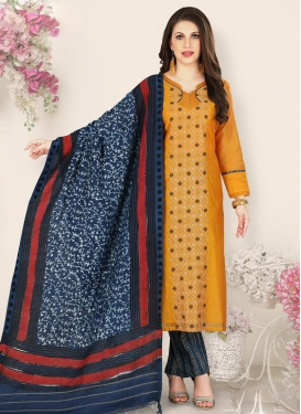 Navy Blue and Orange Chanderi Silk Pant Style Pakistani Salwar Kameez