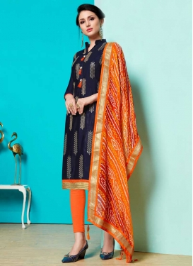 Navy Blue and Orange Churidar Salwar Kameez For Ceremonial