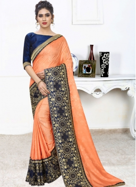 Navy Blue and Orange Contemporary Style Saree For Ceremonial