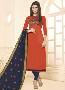 Navy Blue and Orange Cotton Trendy Churidar Salwar Suit