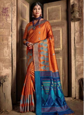 Navy Blue and Orange Designer Contemporary Saree