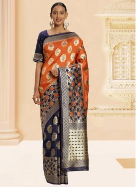 Navy Blue and Orange Designer Contemporary Style Saree