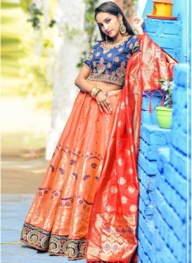 Navy Blue and Orange Embroidered Work A Line Lehenga Choli