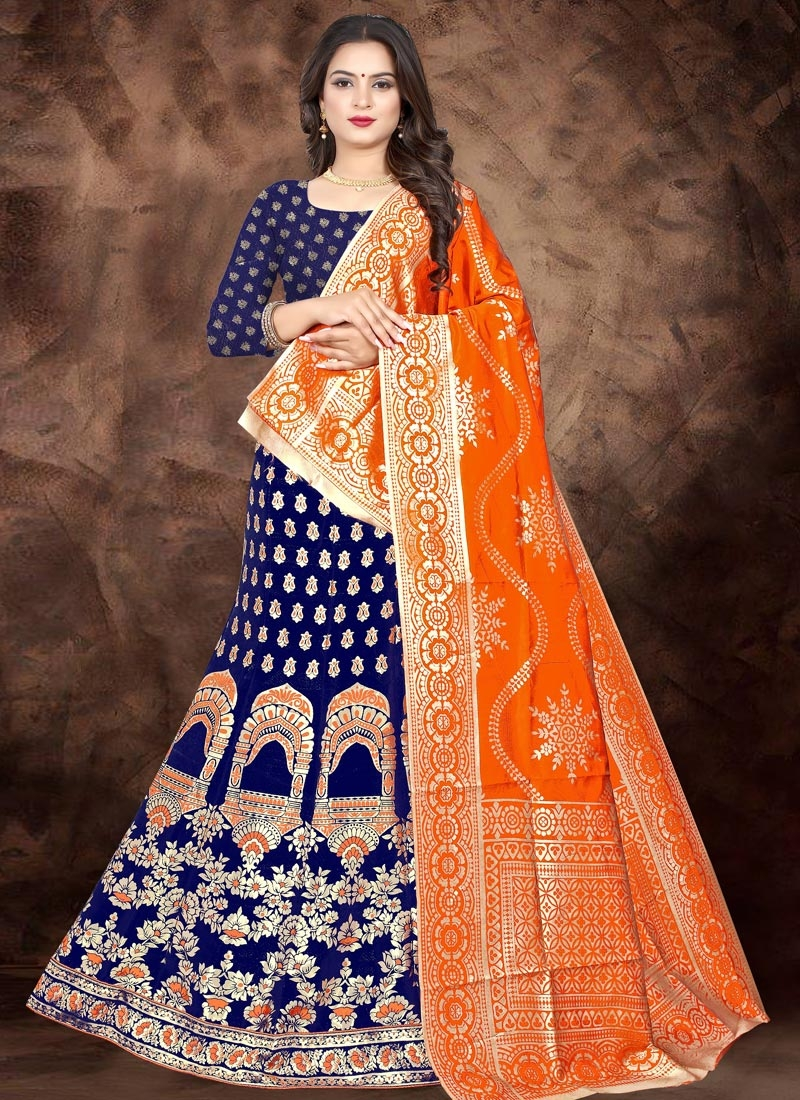 Navy Blue and Orange Jacquard Silk A - Line Lehenga