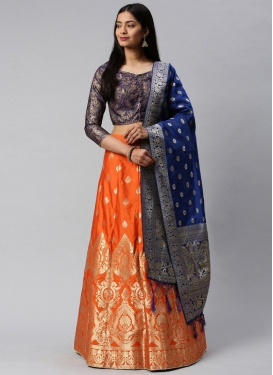 Navy Blue and Orange Jacquard Silk Designer Classic Lehenga Choli