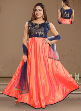 Navy Blue and Orange Readymade Long Length Gown