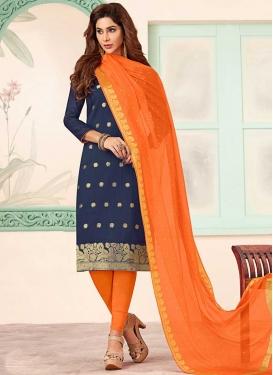 Navy Blue and Orange Thread Work Churidar Salwar Kameez