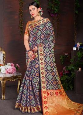 Navy Blue and Orange Traditional Designer Saree For Festival