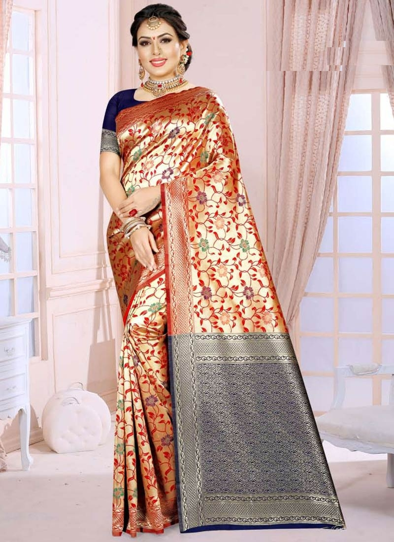 Navy Blue and Orange Trendy Classic Saree For Casual