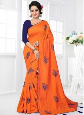 Navy Blue and Orange Trendy Saree For Ceremonial