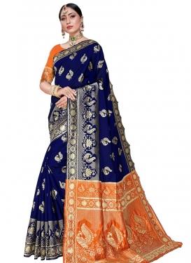 Navy Blue and Orange Woven Work Designer Contemporary Style Saree