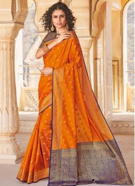 Navy Blue and Orange Woven Work Handloom Silk Designer Contemporary Saree