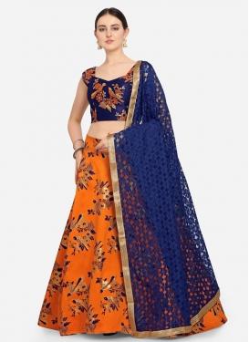 Navy Blue and Orange Woven Work Trendy A Line Lehenga Choli