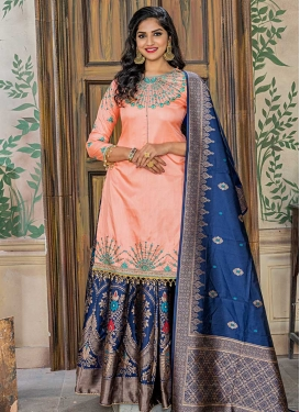 Navy Blue and Peach Banarasi Silk Trendy Designer Suit For Ceremonial