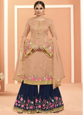 Navy Blue and Peach Embroidered Work Sharara Salwar Suit