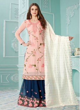 Navy Blue and Peach Palazzo Style Pakistani Salwar Suit For Festival