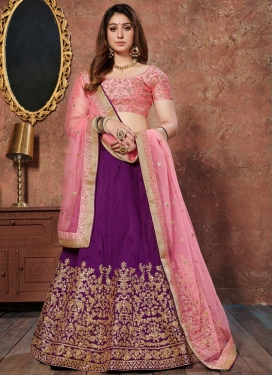 Purple and Pink Art Silk Lehenga Choli